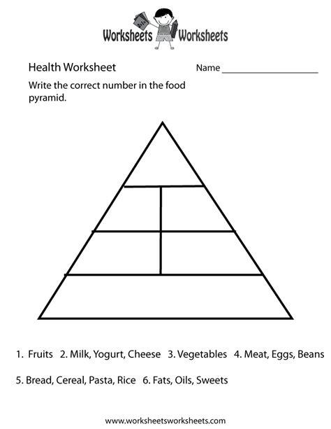 Food Pyramid Worksheet by Food Pyramid Health Worksheet Free Printable Educational