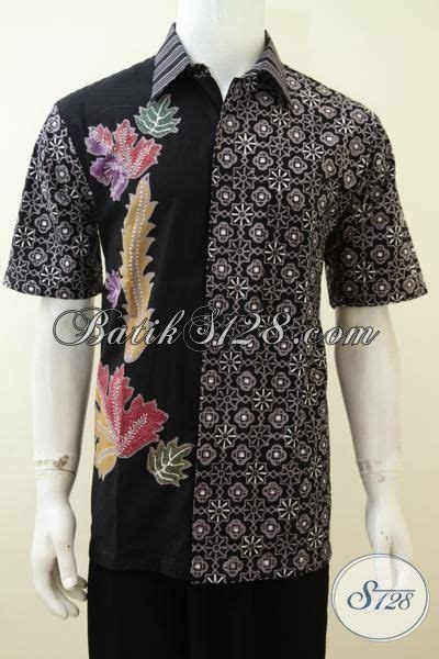 Hem Batik Unik Baju Kantor Pria baju batik hitam motif unik trend masa kini kemeja batik