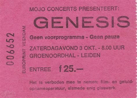 genesis tickets ticket genesis gronenoordhal lieden 3rd october