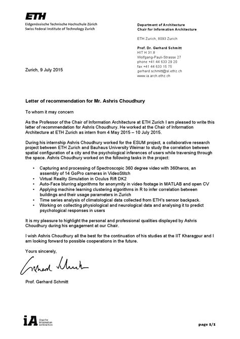 Letter Of Recommendation Eth Zurich letter of recommendation by ashris choudhury issuu