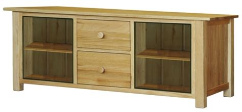 Tv Cabinet With Glass Doors Fortune Woods Oak Tv Cabinet With Glass Doors