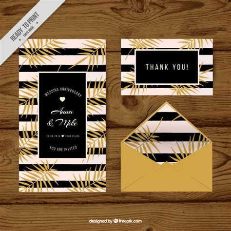wedding invitation with black stripes and vegetable theme