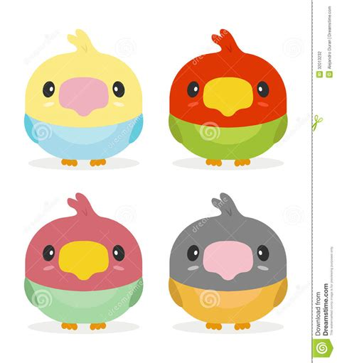 Lcute Set 3in1 Pigeons kawaii birds stock vector illustration of isolated nature 32013232