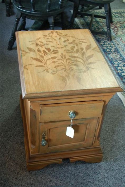 a little stenciling on top furniture no sanding and