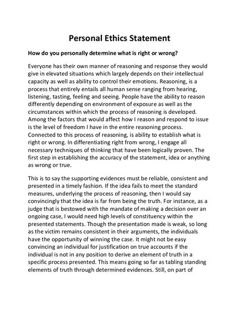 personal code of conduct template personal ethics statement