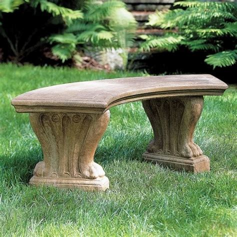 cast stone benches garden cania international curved westchester cast stone backless garden bench be
