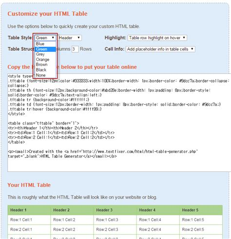 Table Generator Html by