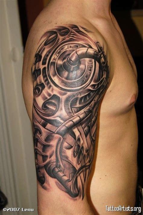 biomechanical predator tattoo biomechanical grey ink alien tattoo on right half sleeve