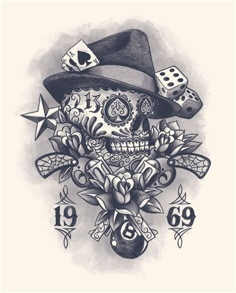 skull rose and gun tattoos muerte skull gun vintage flower dice web 8