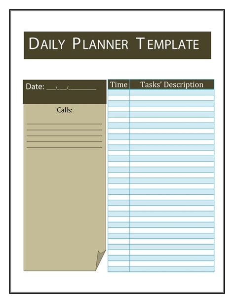 gratis template 40 printable daily planner templates free template lab
