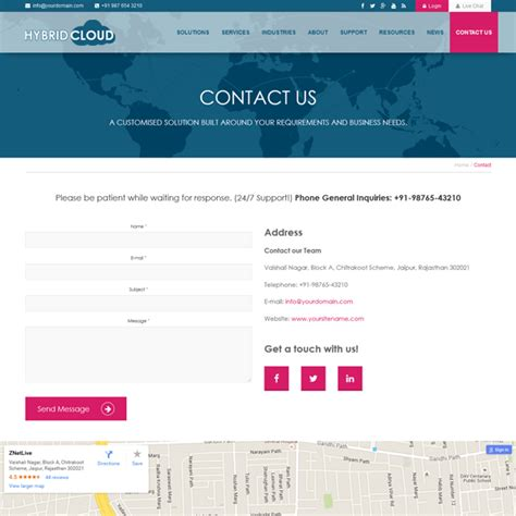 Hybrid Cloud Cloud Hosting Bootstrap Responsive Template Contact Us Page Template Html
