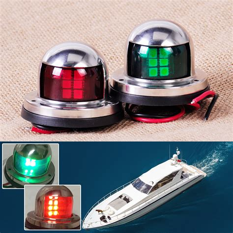 led boat navigation lights 1 pair stainless steel 12v led bow navigation light red