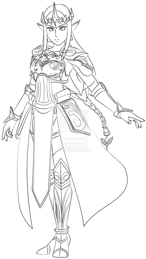 Zelda Hyrule Warriors Lineart By Huramechi On Deviantart Warrior Princess Coloring Pages Free Coloring Pages