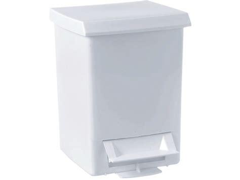 white plastic bathroom bin 6 litre pedal bin 280 x 210 x 210 mm white plastic