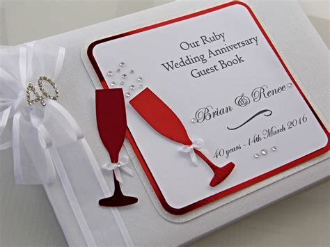 Ruby Wedding Anniversary Guest Book Personalised