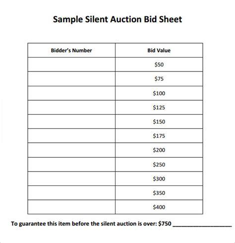9 blank bid sheets doctemplates doctemplates