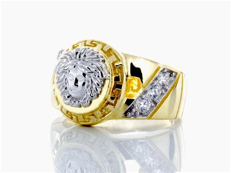 10k white gold versace and yellow gold ring with cz