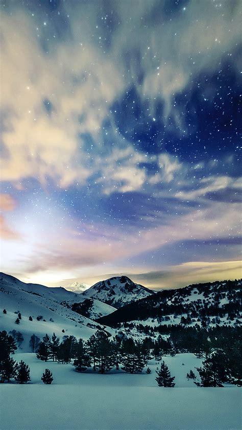 mk aurora star sky snow night mountain winter nature
