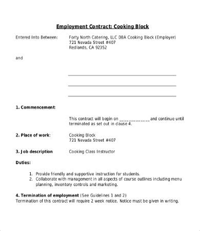 employee contract template 17 free word pdf documents