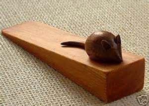 large carved wooden mouse door stop doorstop door