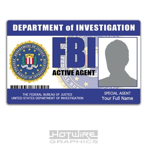 enforcement id card template personalised printed novelty id fbi united states