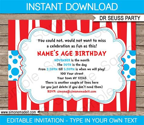 dr seuss birthday invitations templates dr seuss invitations template birthdays dr suess