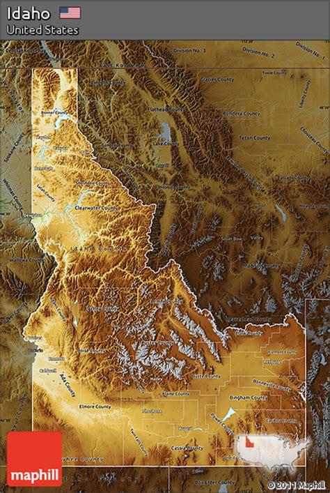idaho physical map free physical map of idaho darken