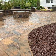 custom designed sted concrete patio w built in fire pit