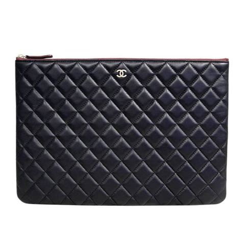 chanel black quilted lambskin envelope clutch no 20