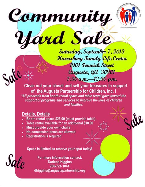 Upcoming Events Community Yard Sale Augusta Partnership For Children Community Flyer Template