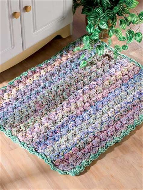 crochet cushy puff stitch throw rug ec00876