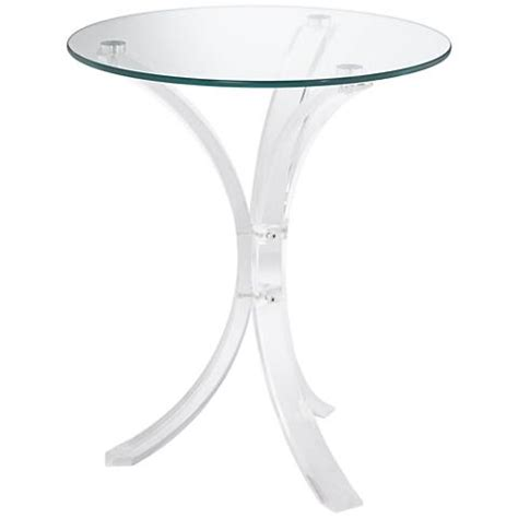 round accent table with glass top felicity glass top and clear acrylic round accent table