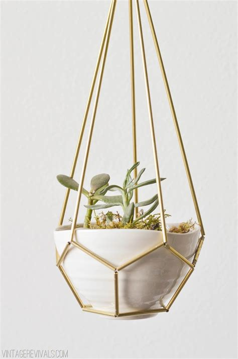 hanging planters diy leather and brass teardrop hanging planter vintage