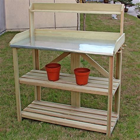 wooden potting bench with shelf giantex outdoor garden wooden potting work bench station