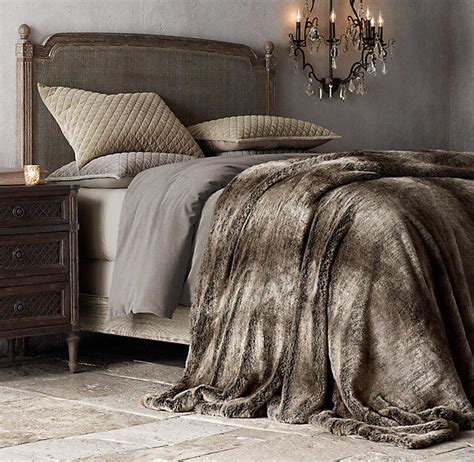 faux fur bed throw oversized luxe faux fur bed throw from restoration hardware