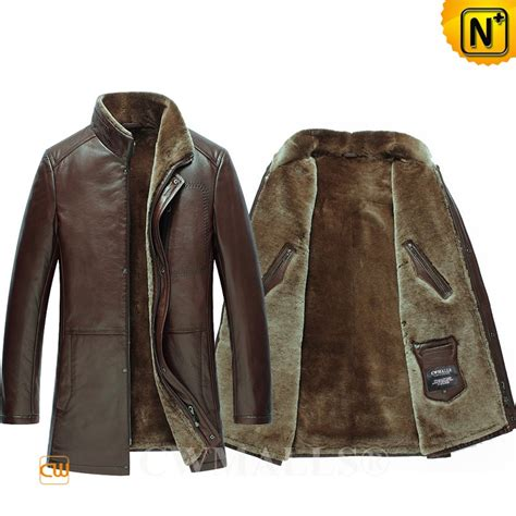 design jaket comunity cwmalls 174 patent men s brown shearling leather jacket cw890015