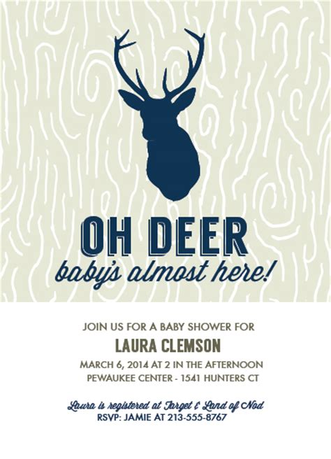 White Party Decor Baby Shower Invitations Oh Deer Baby S Almost Here At
