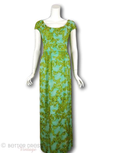 Who Wore It Better Karta Jeweled Waist Dress by 60s Malcolm Beaded Gown Aqua Gold Maxi Sm Med