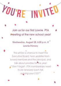 Parent Invitation Letter To School Event Pta Meeting Picture Images School Pta