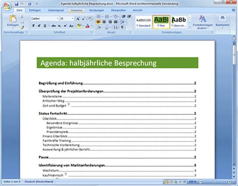 Word Vorlage Agenda Preview