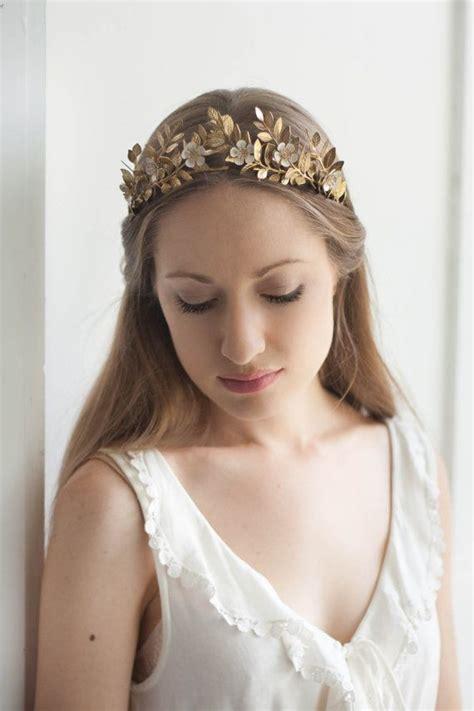 Diane Flower Headpiece laurel leaf flower crown gold leaf tiara gold leaf headpiece leaf crown flower crown bridal
