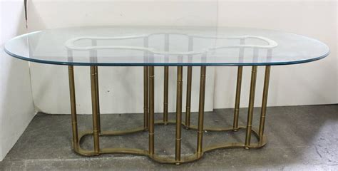 dining room tables oval oval glass and brass dining table by mastercraft at 1stdibs
