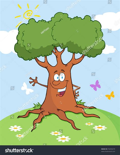 happy cartoon tree waving greeting landscape stock vector