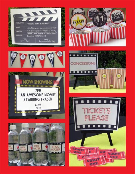 printable movie themed party decorations movie party invitations decorations full printable
