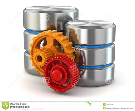 storage administration concept database symbol and gears
