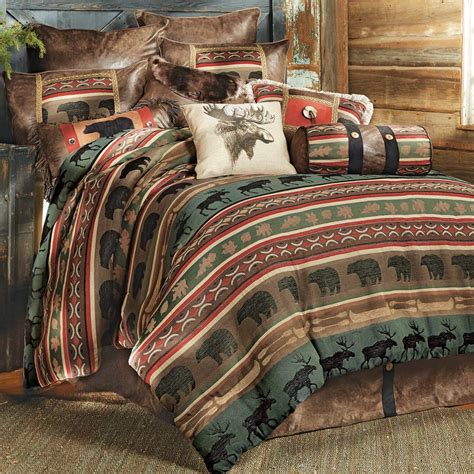 Rustic Bedding King Size Yukon River Bear Moose Bed Set Moose Bedding Set
