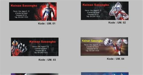 Custom 35 000 Cetak Foto Bebas Dari Katalog 2 ultraman stiker label nama