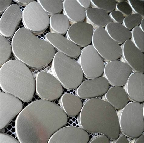 Silver metal mosaic tile SMMT001 brushed silver stainless