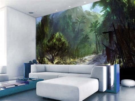 Hand Painted Wall Mural forest hand painted wall murals living room homescorner com