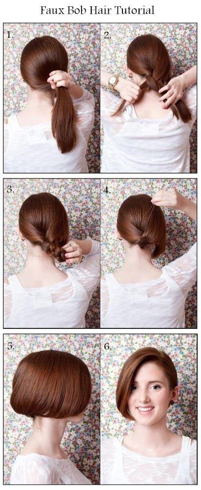 how to draw a bob hair cut make a faux bob hair hairstyles tutorial parties